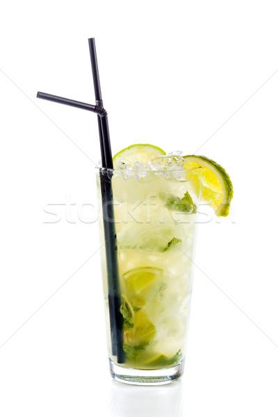 Mojito cocktail geïsoleerd witte glas voedsel Stockfoto © Lighthunter