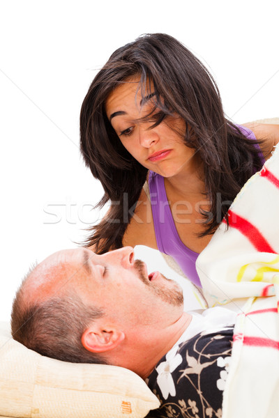 Snoring Man and Disturbed Wife Stock photo © Lighthunter