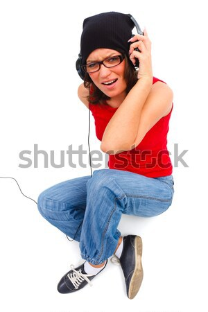 Jóvenes música nina escuchar música Foto stock © Lighthunter