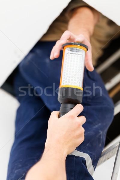 Bom fluxo de trabalho eletricista homens trabalhando equipe Foto stock © Lighthunter