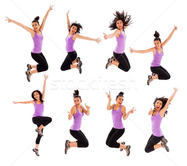 Springen montage jonge dame hoog verschillend Stockfoto © Lighthunter
