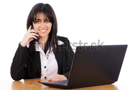 Stock foto: Frau · Telefon · business · woman · lächelnd · sprechen · Telefon · isoliert