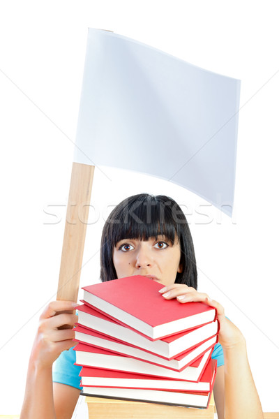 Foto stock: Para · cima · estudar · jovem · estudante · aprendizagem · mulher
