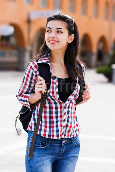 Stock photo: Happy student with backpack