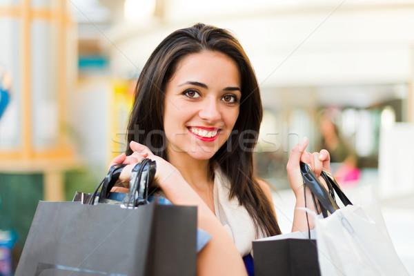 Alışveriş tatil esmer kadın alışveriş merkezi Stok fotoğraf © Lighthunter