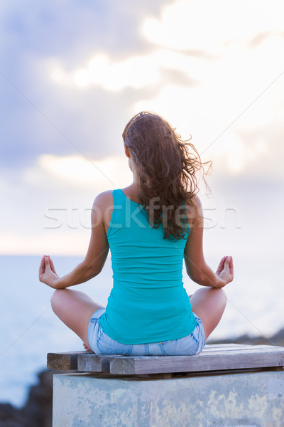 Meditation in the salty wind at the sea Stock photo © Lighthunter