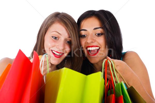 Sevmek dışarı yeni hediyeler heyecanlı kadın Stok fotoğraf © Lighthunter