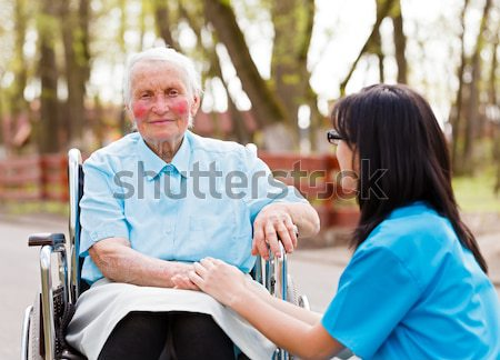 Foto stock: Médico · ancianos · dama · hermosa · enfermera
