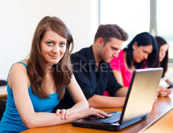 Beautiful Girl With Laptop In School Stock photo © Lighthunter