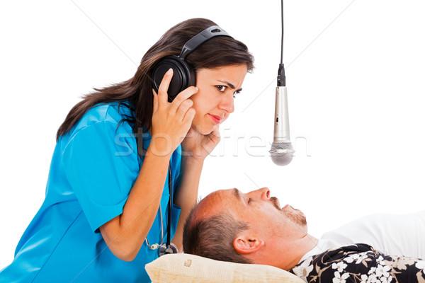 врач Lady прослушивании спальный храп Сток-фото © Lighthunter
