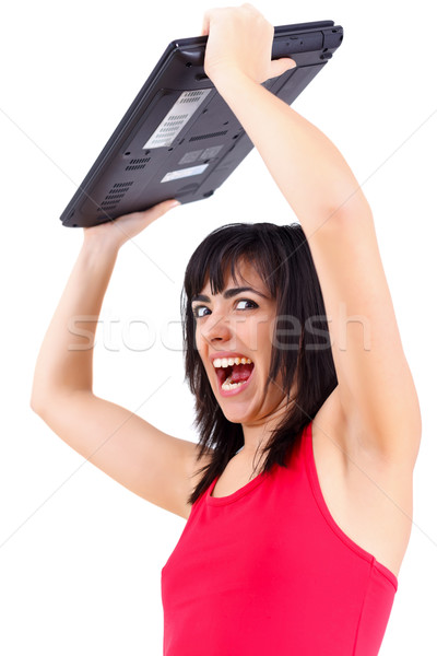 Agitated woman with laptop Stock photo © Lighthunter