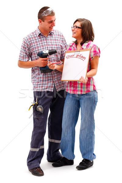 Mejoras para el hogar feliz pie mejora Foto stock © Lighthunter