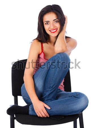 Bela mulher sorridente belo jovem senhora sessão Foto stock © Lighthunter