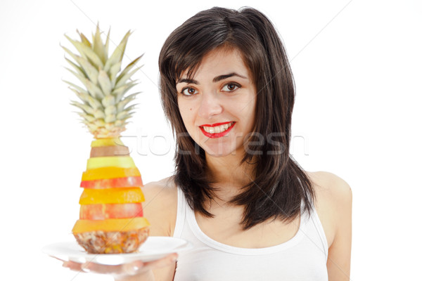 Mujer placa mixto frutas sonriendo Foto stock © Lighthunter