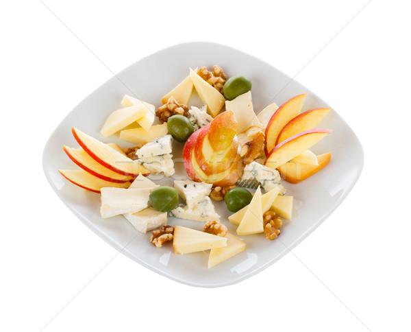 Sajt tányér keverék különleges gyümölcs kék Stock fotó © Lighthunter
