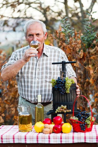 Iszik bor idős férfi pohár aratás Stock fotó © Lighthunter
