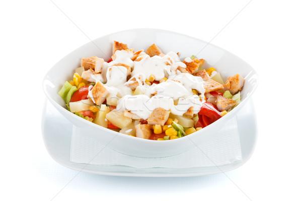 Fresco picado legumes salada salada césar frango grelhado Foto stock © Lighthunter