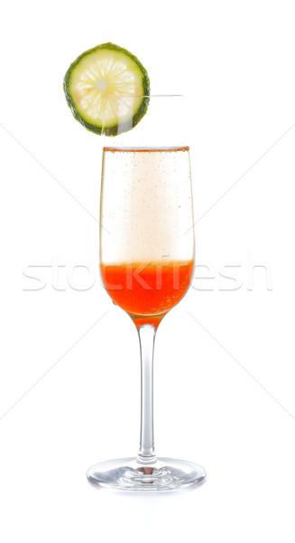 Foto stock: Coquetel · champanhe · pêssego · fruto · frutas · branco