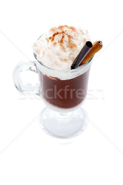 Cioccolata calda crema vetro top caffè cioccolato Foto d'archivio © Lighthunter