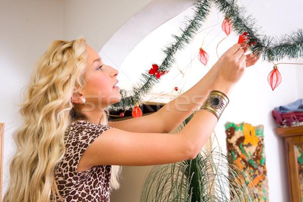 Casa Navidad mujer nina modelo Foto stock © Lighthunter