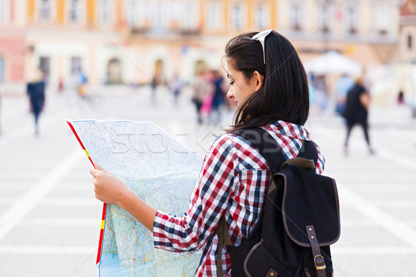 Stock photo: Map and Tourist