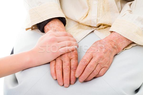 Stockfoto: Familie · ondersteuning · handen · senior · vrouw · hand