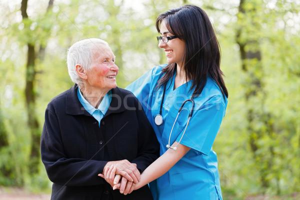 Boldog beteg orvos portré gondoskodó nővér Stock fotó © Lighthunter