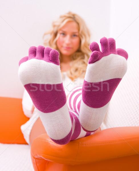 Meias jovem sessão cama especial mulher Foto stock © Lighthunter