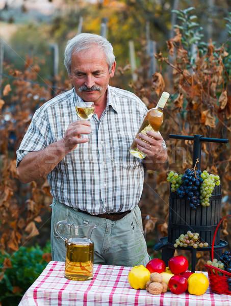 Idős férfi mintavétel bor szakértő termék Stock fotó © Lighthunter