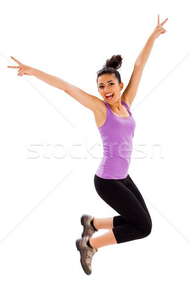 Fitness belo caber jovem senhora saltando Foto stock © Lighthunter
