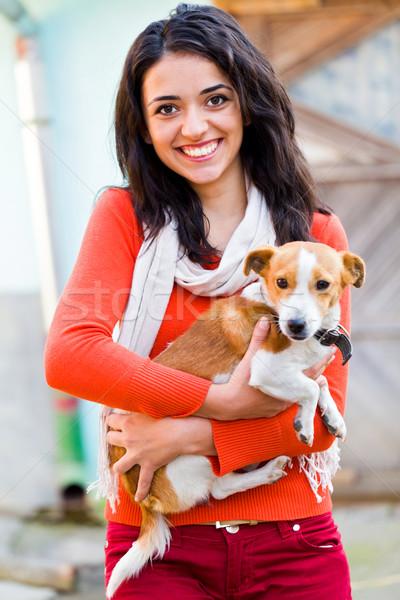 笑顔の女性 ペット 幸せ 女性の笑顔 美しい ストックフォト © Lighthunter