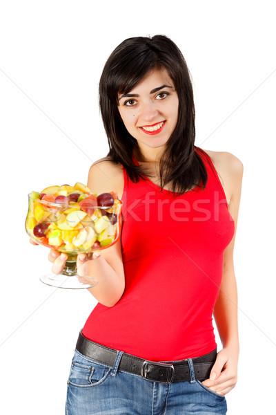молодые улыбаясь брюнетка девушки фруктовый салат Сток-фото © Lighthunter