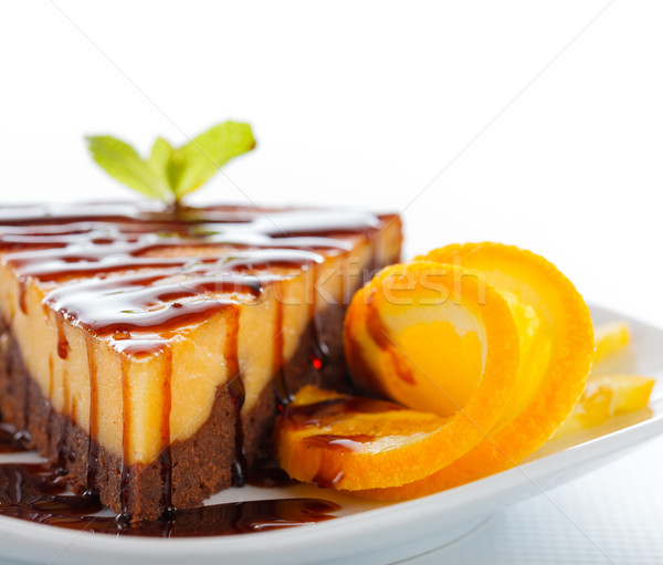 Special dessert named cheesecake brownie, a composite of these two cakes. Stock photo © Lighthunter
