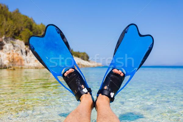 Snorkeling búvár lábak kék mediterrán tenger Stock fotó © Lighthunter