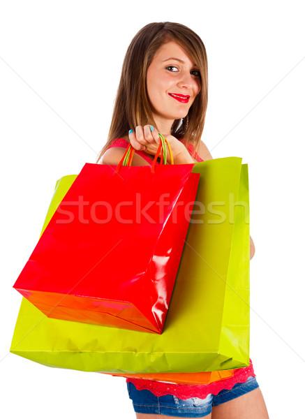 Foto stock: Satisfeito · cliente · mulher · muitos · sacos