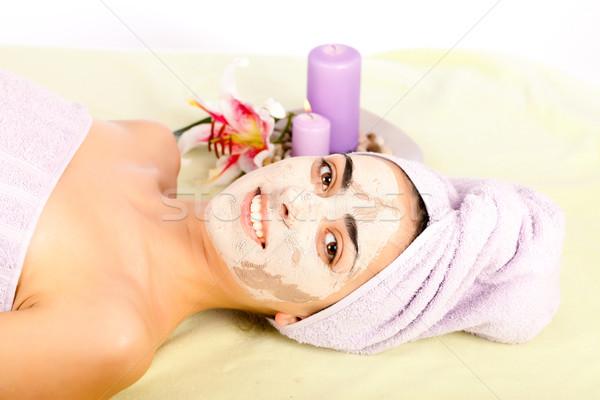 Szépségápolás gyönyörű nő fürdő agyag maszk mosolyog Stock fotó © Lighthunter