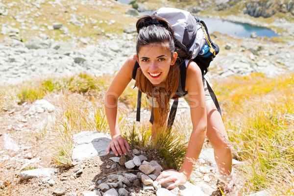 Stock fotó: Nő · mászik · hegy · élvezi · felfelé · nagy