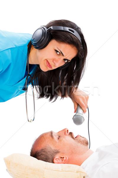 храп громко врач Lady прослушивании спальный Сток-фото © Lighthunter