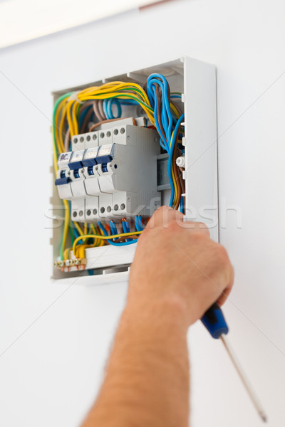 Man Mounting Electric Fuse Stock photo © Lighthunter