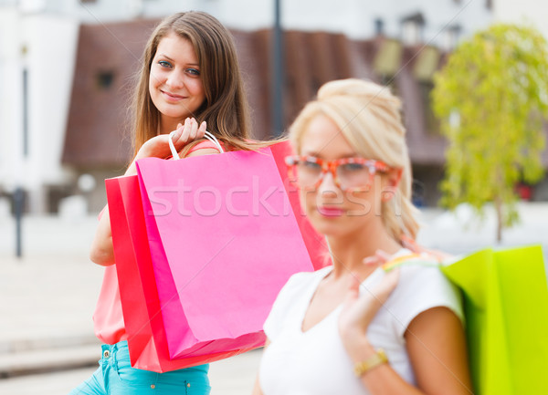 Gorgeous Girls Out in City Shopping Stock photo © Lighthunter