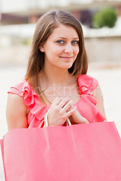 Сток-фото: Cute · девушки · розовый · сумку · красивая · девушка · из