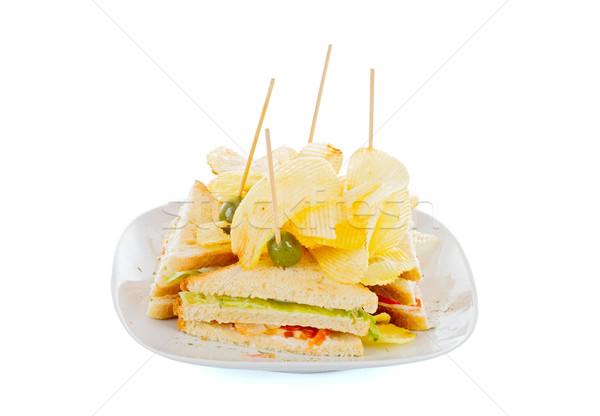 Tele klub szendvics burgonyaszirom ízletes szendvics friss Stock fotó © Lighthunter