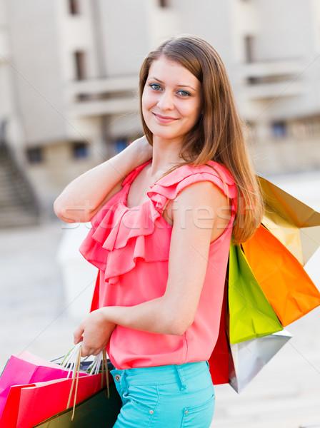 Nieuwe gekocht vrouw glimlachend Stockfoto © Lighthunter