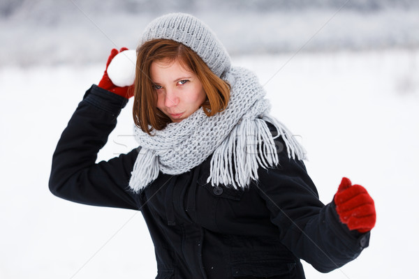Frightening Attack from Cute Girl in Winter Stock photo © Lighthunter