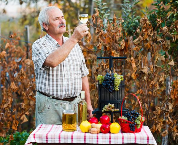 Megvizsgál bor férfi figyelmes idős utolsó Stock fotó © Lighthunter