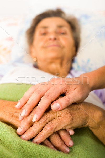 Caring Nurse Holding Hands Stock photo © Lighthunter