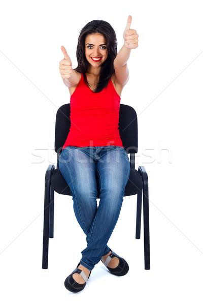 Foto d'archivio: Come · bella · ragazza · ragazza · seduta