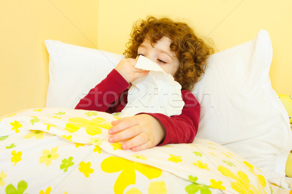 Sick child in bed Stock photo © Lighthunter