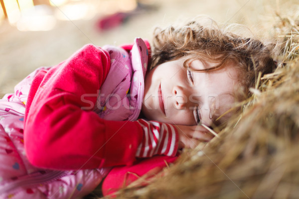Slapen schoonheid meisje glimlachend haren jonge Stockfoto © Lighthunter