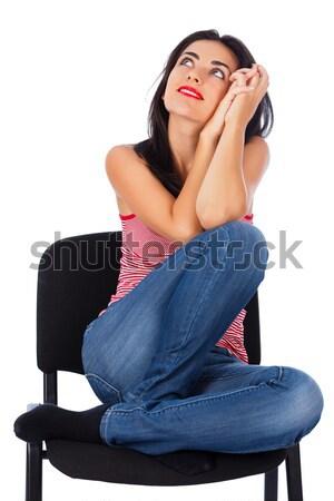 álmodozás vonzó fiatal barna hajú néz nő Stock fotó © Lighthunter